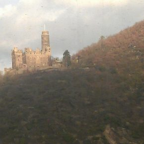 Castles on train ride leaving Frankfurt.