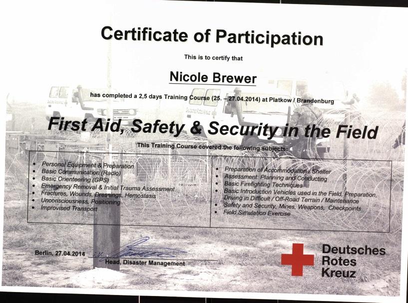 German Red Cross Field Training & MSF condolences