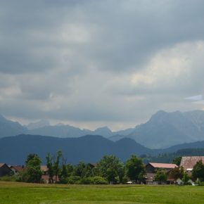 Bavaria mountainscapes on train journey.