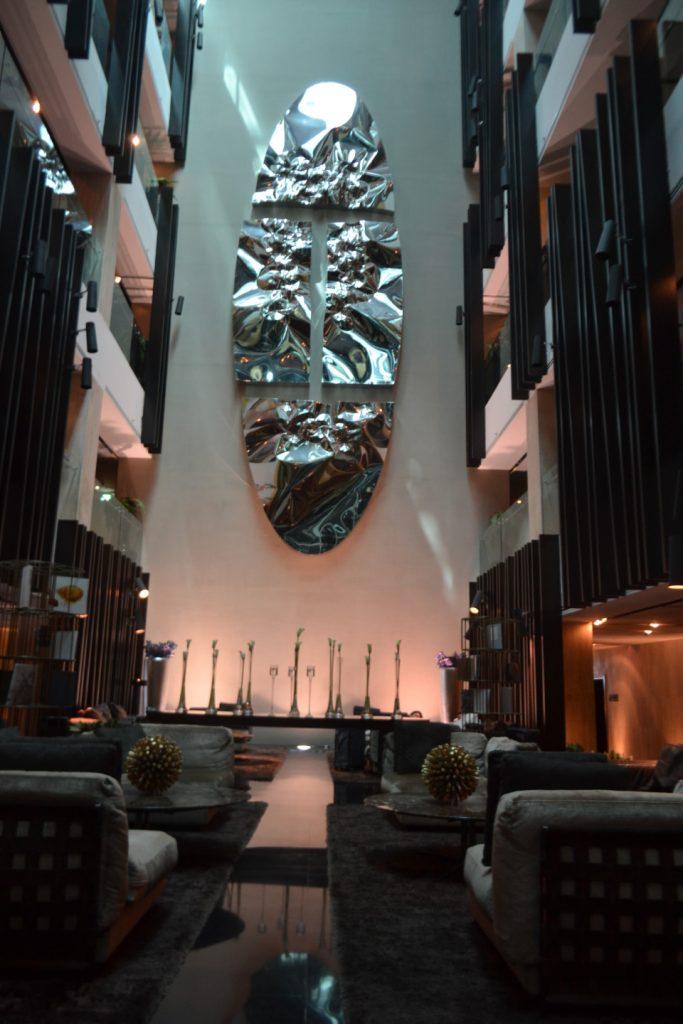 Very modern lobby area.