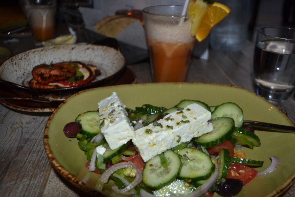 Nom nom, Greek Salad and fried feta deliciousness.