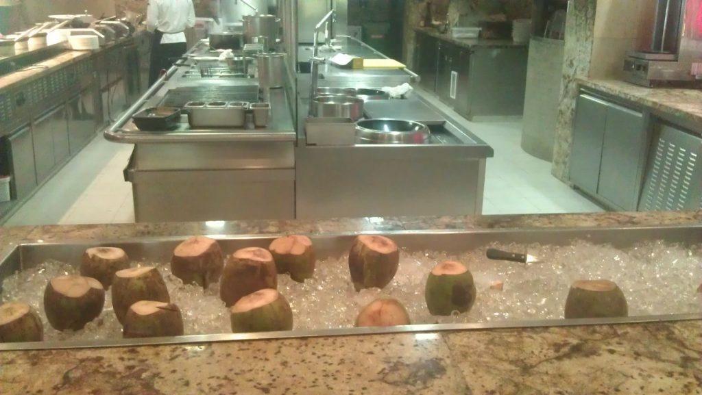 Fresh coconut juice available at Al Khiran Terrace restaurant.