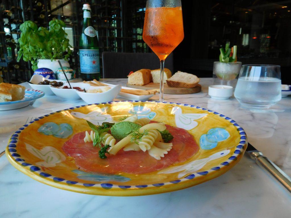 Tuna Carpaccio pasta salad