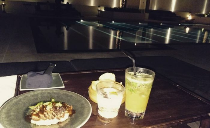 Dinner by the pool.
